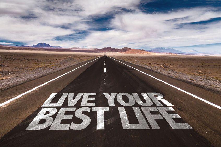 49560068 - live your best life written on desert road